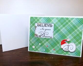 Believe in Your Dreams sleeping cat shaker card