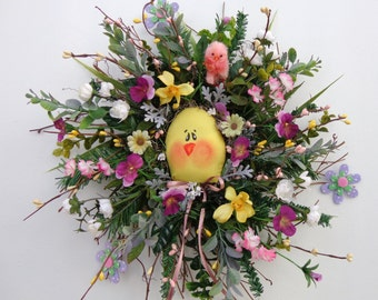 Spring Easter Birch Twig Wreath-Silk Mini Pansy Wreath-Handmade Yellow Fabric Chick-Door Wall Decor Wreath-Made by Floramiagarden
