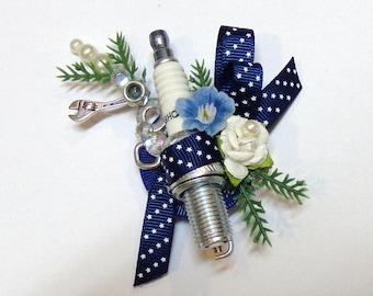 Spark Plug Rustic Wedding Boutonniere-Groom-Groosmen-Father of the Bride Wedding Boutonniere-by Floramiagarden