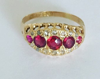 Vintage 18ct Gold Ruby & Diamond Ring