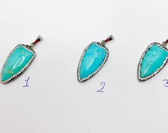 Howlite Gemstone Pendant Sheild Shaped Silver Plated Rhinestone Blue Turquoise Natural Stone Pendant LynnsGemSupplies
