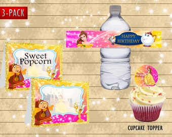 Beauty and beast bottle wrapper- food label- DIY princess belle happy birthday party decoration - Digital file for download