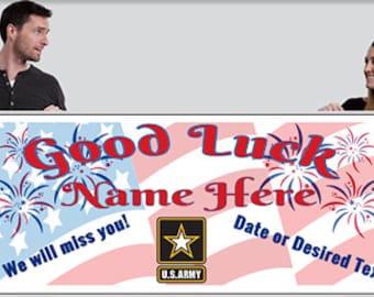 Good Luck Banner - Air Force, Army, Coast Guard, USMC, Navy - Customize