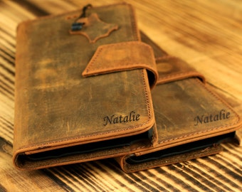 Personalized Samsung Galaxy Note 5 Wallet Case with Magnet Lock - Handmade Genuine Leather