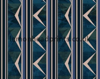 Geometric design with geometric patterns in blue and green available on a variety of fabrics