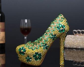 Custom Womens Wedding Shoes, Formal Yellow, Green Swarovski Crystal Rhinestone High Heel Bling Shoes, Platform, Bridal Bling Shoes