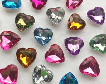 20 pc mixed color faceted heart rhinestones acrylic hearts rhinestones heart beads faceted acrylic rhinestones red acrylic beads G102