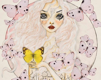 Doll and Butterflies Acrylic and Pencil Illustration