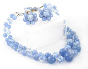 Vintage 1950s Demi Parure Pale Blue Glass And Lucite Beads - Necklace & Earrings Set