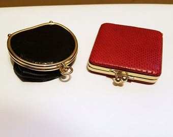 1960s Reptile Holt Renfrew Change Purse & Compact, Made in Spain