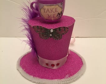 Mad Hatter Alice in wonderland Purple Mini Top Hat Fancy Dress Halloween