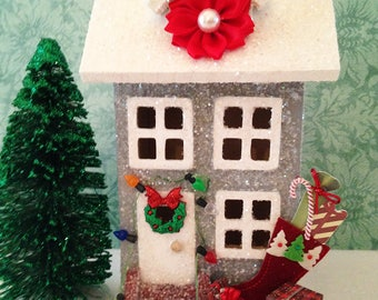 Gray Glitter House with Lights, Christmas House, Glitter House, Putz House, Christmas Decor