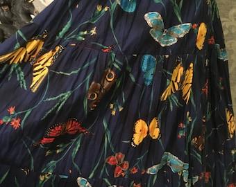 Vintage Skirt-Vintage Handmade Skirt-Butterfly Boho Skirt-Vintage Boho Skirt-Hippie Skirt-Womens Skirts-Womens Vintage-Vintage Bottoms