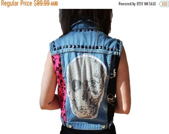 ON SALE Skull Denim Vest
