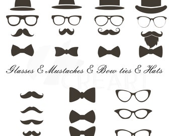 Mustaches, hats, glass, bowtie Clipart, Hipster icons, for commercial or personal use (vector, pdf, png, svg, dxf, and eps files included).