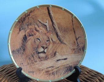 "Vintage Lion Plate, Guy Coheleach's ""Lion in Wait"" Lenox Collectors Plate, Wild Cat Plate, Lion Plate, Royal Cats Plate, Lion Collection"