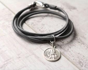 Women's Diamond Cut Circular Saint Christopher Medal - Religious Bracelet