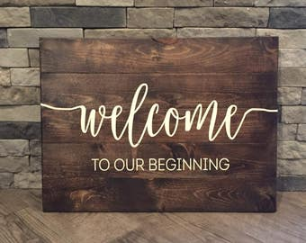 Welcome To Our Beginning Wedding Sign, Wedding Ceremony Sign, Wedding Sign, Rustic Wedding, Rustic Chic Wedding, Customizable Sign
