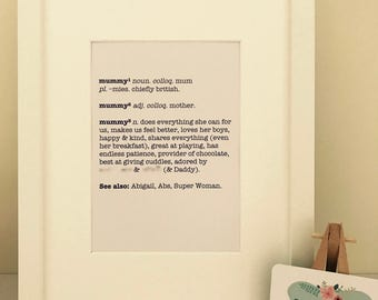 A4 Framed Mum/Mummy definition typographic print ideal for Mother's Day gifts