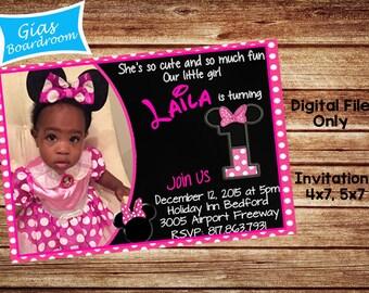 Minnie Mouse Invitation Digital File