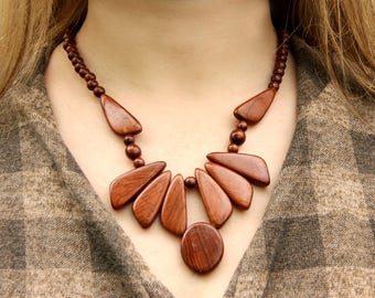 ethnic jewelry ethnic necklace african jewelry Wooden jewelry Wooden necklace Wood jewelry Wood Bead necklace Wood necklace tribal jewelry