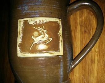 Handmade brown with hints of light blue mug, Oregon State with stag mug, large 22 ounce handmade ceramic mug for coffee or tea,  #108