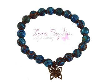 Pearl bracelet Brown / turquoise with butterfly