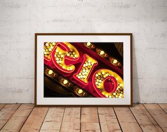 Wall Art,Photography,Rio,Neon Sign,Pink,Gold,Room Decor,Dorm Wall Art,Large Art Print,Fine Art,Kitsch,Retro,Children's Art,Word Art,Carnival