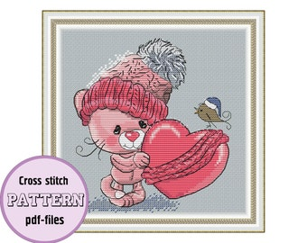 The little KITTY WITH HEART / pdf cross stitch pattern / instant download / Valentine's day