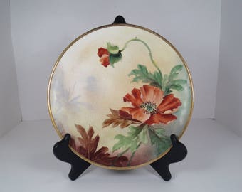 Owen Minerva Gold Medal St. Louis Small Decorative Plate with Ornamental Gold Trim and Red Poppy Flowers, Fiberglass Plate