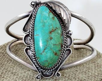 Navajo Sterling Silver Ajax Mine Turquoise Squash Blossom Cuff Bracelet