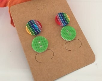 Button earrings, button stud earrings, stud earring set, stripe buttons, kitsch, cute, gift set, girl gifts, silver plated, affordable gifts