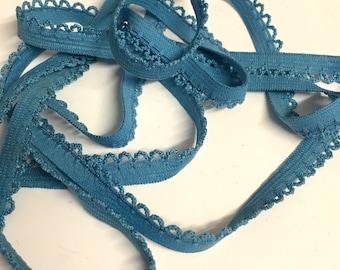 5M, blue knicker elastic, picot edge knicker elastic, 10mm elastic, blue elastic, flat knicker elastic, lingerie elastic, white elastic