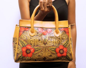 FLOWER LEATHER BAG Made From Genuine Cow Leather, Paint Leather Bag, Exclusive Woman Bag, Large Leather Bag