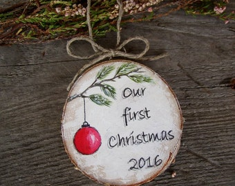 Our First Christmas Ornament, Mr Mrs Ornament, Wedding Gift, Rustic Wedding Wood Ornament, Hanpainted Newlywed Ornament, Personalized