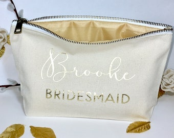 Personalized Wedding Makeup bag - bridesmaid favors  -  cosmetic bag- zipper pouches - Birthday gift- makeup bag - Canvas bags