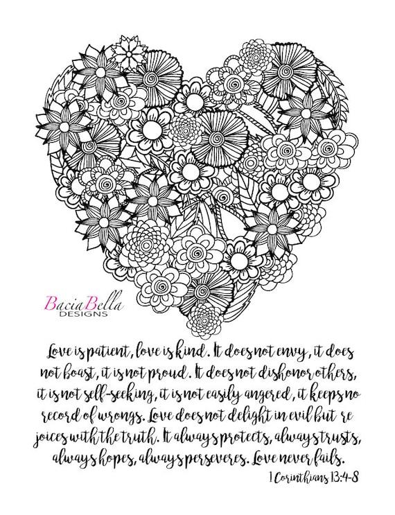 Zen Tangle Flower Heart 1 Corinthians By BaciaBellaDesign