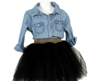 "Young Girl Black Tulle Skirt tutu skirt, ""Alexis"". Super fluffy."