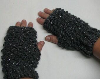 crochet fingerless gloves, grey sparkle fingerless gloves, handmade gloves