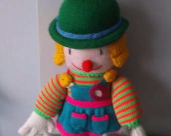 Hand Knitted Large clowns-Painter/ Golfer/ Baker