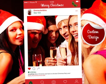 Christmas Party Frame Prop Fully Customized - DIGITAL FILE, Instagram Prop, Instagram Photo Booth Props