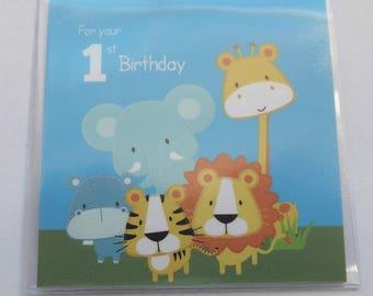 Baby boy 1st birthday keepsake lucky sixpence safari animals gift