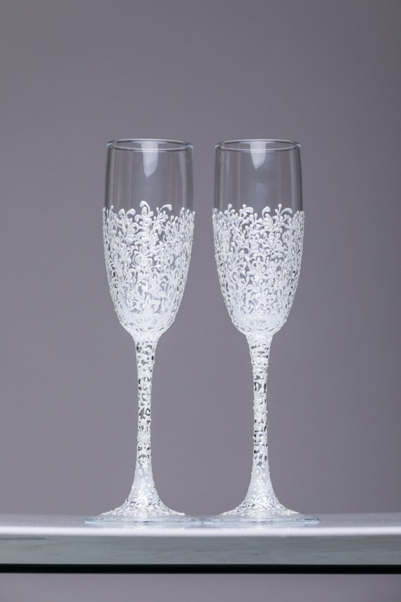 personalized wedding glasses toasting flutes white glasses bride and