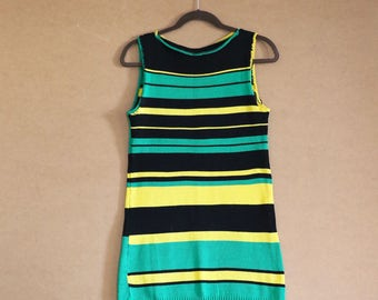 70's MOD Bodycon Knit Vintage Sleeveless Striped Dress