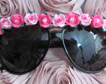 Embellished Sunglasses (Pink Flower Aviators)