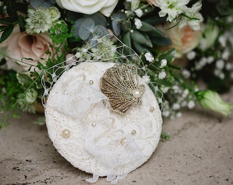 Oyster Shell with Pearl Vintage Brooch Fascinator