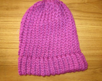 100% New Zealand Wool Child Beanie - Bright Pink
