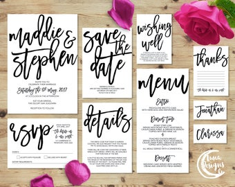 Printable Wedding Invitation Set | Maddie Suite | Handwritten Wedding Invite | Wedding Invitations | Save the Date | RSVP | Wishing Well