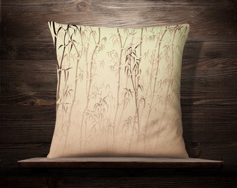 Bamboo In The Mist | Asian Throw Pillow | Chinese Pillow | Japanese Pillow | Asian Throw Pillow | Asian Decor | Kimono | Cushion
