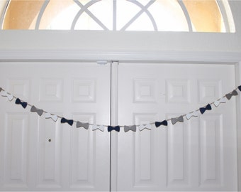 Bow Tie Garland Banner - Navy, Grey and White